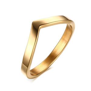 Fashion V Shape Ring Women's Rings Gold-color Titanium Steel Wedding Bands Rings for Women