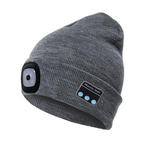 Men Women Knitted Hat Built-in 4Pcs Led Lights BT5.0 Knit Cap Autumn Winter Warm Beanie Cap for Outdoor Cycling Fishing Camping