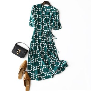 European and American women's wear 2020 summer new style Dot printed Five-point sleeve v-neck lace-up Fashione green silk dress