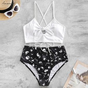 Swimwear Women Skull Print Split High Waist Bikini Twist Knoted Bikinis Up Swimsuit Cross Bandage Lady Bathing Suit Biquini