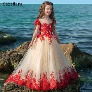 Custom Girls Pageant Party Dress Applique Lace Cap Sleeve Champagne Tulle Kids Clothes Children Party Gown
