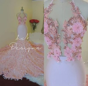 2020 elegante frisadas do rosa preto Meninas Sereia Prom Vestidos longo luxo Beads Prom Vestidos Vestido Abendkleider
