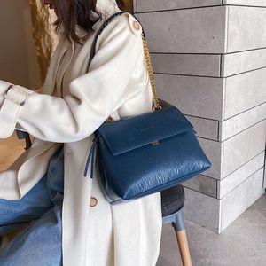 Fashion Women's Handbag PU Leather Ladies' Handbag Chained Shoulder Crossbody Bag Blue