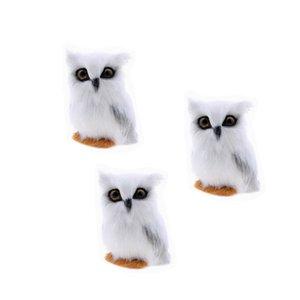 3Pcs Mini Simulação animal Coruja Decoração Simulação Artificial White Owl