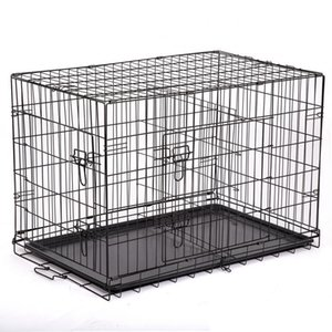 70 * 50 * 60 cm Cause para perros 2 puertas Alambre plegable PET CRAVE DOG CAT CAGE Maleta Kennel Playpen con bandeja Cajera de mascotas Dog Cat CAGE DHL Envío gratis