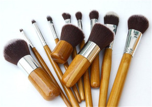 New Hot vente bambou poignée maquillage professionnel brosses 11 pcs Ensemble Beauté Outils Super doux tête de brosse avec sac de rangement DHL livraison de bateau