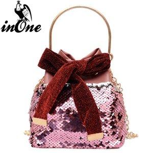 INONE Bolsa Feminina Solid Color Bucket Crossbody Messenger Bags for Women 2018 Hand Bag Sequins Bow Purses and Handbags