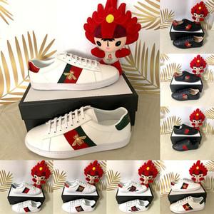 2020 abeja original raya de la moda para hombre para mujer bordada Casual Diseñador ACE cordones de la plataforma de lujo zapatillas de deporte de cuero del vestido zapatos planos