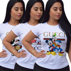 النساء مصمم تي شيرت الترتر قصيرة الأكمام طباعة تي شيرت عارضة أنثى السيدات مثير T-Shirts أعلى قمزة ملابس النساء klw3345