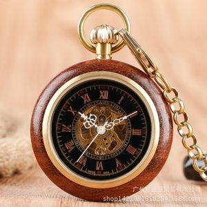 Redwood Roman Literal Pocket Watch Grão de madeira Vintage Hetero Manual de Mecânica Pocket Watch Comércio Exterior Hot Selling Estilo