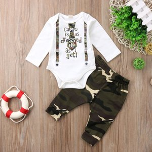 Pudcoco camo baby boys set 2Pcs Newborn Toddler Baby Boys letter bodysuit Romper camouflage Pants Outfits Set baby boys Clothing