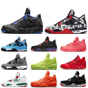 Nike Air Jordan Retro 4 4s Basketbol Ayakkabıları Jumpman Dövme Serin Gri Bred 4 Raptors Tekler Gün FIBA Volt Kraliyet Mavi KANATLAR Kadın Erkek Eğitmenler Spor Sneakers