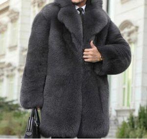 S-6XL HOT 2019 Spring Men's New Fashion Faux fur fur coat long one large size coat