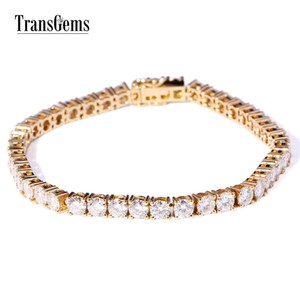 Transgems 14k sólido amarelo ouro 1,33 Ctw 2,3 milímetros de diâmetro F Cor Moissanite Tennis For Women Wedding Fazer a ligação Pulseiras C19032501