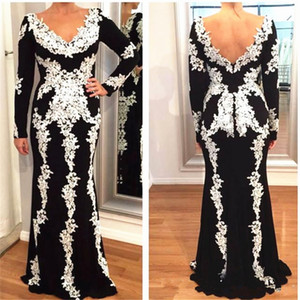 Black and White Lace Mother of the Bride Dress Long Sleeve V Neck Backless Floor Length Mermaid Wedding Party Guest Dress Special Occasion