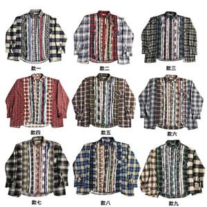 Damen Herren Designer-T-Shirts Plaid Shirt Nadeln Vintage-Splice Gewaschene Retro Fashion Marke High Street beiläufige lose Langarm-Shirt