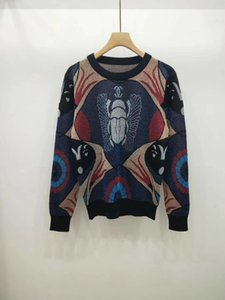 Milan Runway Sweater 2019 O cuello manga larga carta impresión suéter de gama alta de rayas Jacquard Pullover mujeres diseñador suéter 052203