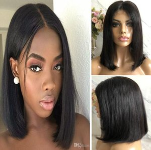 Short Bob Cut Lace Front Wig Straight 10A Natural Color Malaysian Virgin Human Hair Full Lace Wig for Black Woman Fast Express Shipping