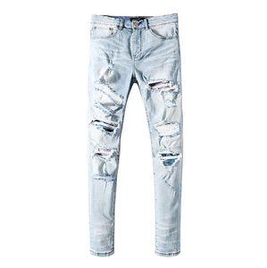 New Men's Designer Jeans Classic Hip Hop Pants Designer Jeans Distressed Ripped Biker Jean Slim Fit Motorcycle Denim Jeans