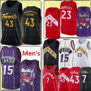 NCAA Pascal 43 Siakam Fred 23 VanVleet Jersey, Vince Carter 15 Tracy McGrady 1 Kyle Lowry 7 Marcus Camby 21 jerseys del baloncesto