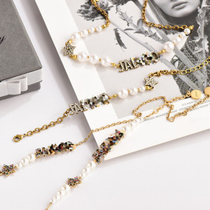Classic Design Necklace Retro Color Diamond Letters Pearl Necklace Female Temperament Female Bracelet Jewelry Fashion Personality Necklace