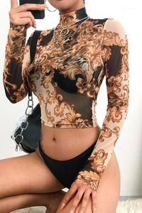 Sexy durchschauen Tees Modedesigner Blumen druckte dünne Ineinander greifen-T-Shirts Sexy High Colalr Crop Tops Für Frauen