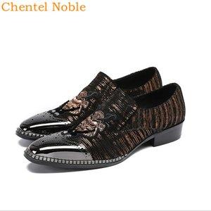 Mais recente manual Chentel Noble Cavalheiro Metal Head Fashion Dress Mens Shoes Genuine Padrão animal couro Flats Sapatos Masculinos