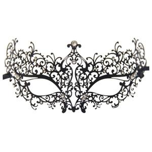 Rhinestones Metal Luxury Venetian Laser Cut Masquerade Filigree Mask (Black / White Stones)
