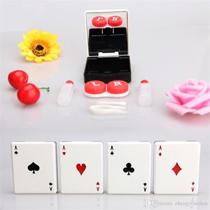Hot Sale Cute Poker Card Clubs Diamonds Hearts A Contact Lens Case for Lenses Container Box for Glasses Contact Lens Accessories