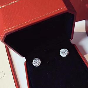Престижное Тринити Дизайнер S925 Sterling Silver Три Круглый Круг Большой Циркон шарма серьги для женщин Свадебные украшения