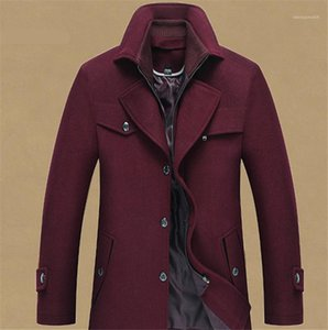 Wool Overcoat com gola dupla Stand Up Collar Gentlemen Coats Mens Fashion Designer Jackets New Mens