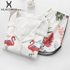 Vilacoroa Revere Kragen Allover Flamingo Print Bluse Shorts Pyjama Set Weiß Kurzarm Niedliche Nachtwäsche Mit Knopf C19040901
