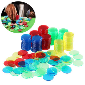 300PCS Tokens 6 couleurs ronde en plastique Mahjong Tokens Jeu de jetons Coin poker jetons de poker jetons pour Board Game Poker jeu