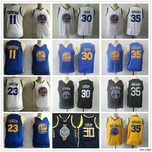 Kids Youth Men #35 Durant Jersey Klay 11 Thompson Draymond 23 Green Stephen 30 Curry Boys Children Blue White Black Basketball Jerseys