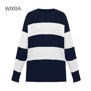 Wixra Women's Sweater Pullovers Striped O-Neck Autumn Winter Women Knit Loose Long Sleeve Sweater For Ladies