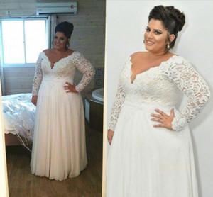 Plus Size Wedding Dresses Long Sleeve V Neck A Line Lace Formal Cheap Bridal Gowns Floor Length vestidos de novia