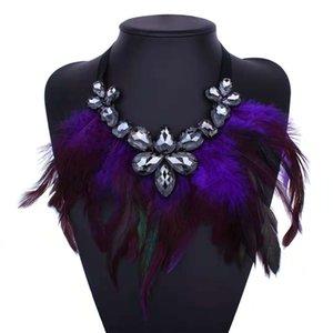 красочные перья кисточка Чокеры женщин капля воды кристалл алмаз роскошь дизайнер ожерелье девушка плюмовой бахрома подвески фиолетового синий черная