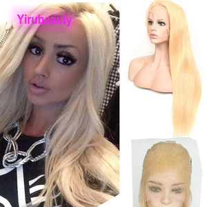 Malaysian Human Hair Full Lace Wig Blonde Silky Straight 613# Full Lace Wig 10-28inch Ins Popular Virgin Hair Adjustable Band