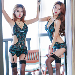 Sexy Lace Set Pajamas Set Cheongsam Hollow Out See Through Underwear lingeries woman G String T Back Women Clothes 410014