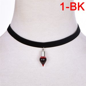 Vintage Vampire Diaries Pendant Black Lace Choker Necklace Blood Sucker Leech Blood Glass Bottles Necklaces Halloween Gifts