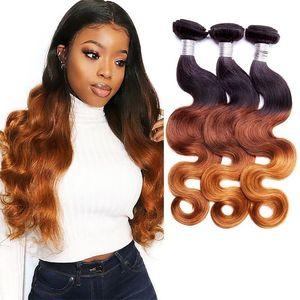 H A Ombre Human Hair Bundles Body Wave Indian Peruvian Brazilian Virgin Hair Bundles Weaves Ombre Three Tone 10 -28 Inch
