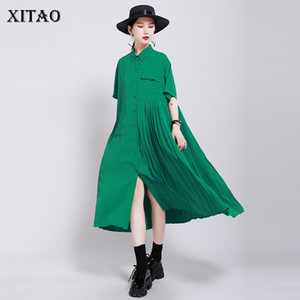 XITAO Patchwork Pleated Pocket Elegant Dress Women Clothes 2020 Summer New Fashion Turn Down Collar Loose Dresses DMY4747
