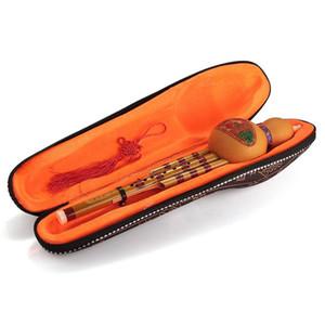 Handmade cinese Hulusi bambù nero zucca Cucurbitacee Flauto Ethnic Musical Instrument chiave di C con il caso per i principianti amanti della musica