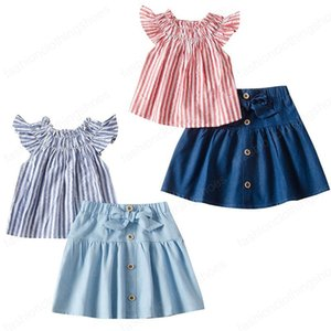 kids clothes girls outfits children Flying sleeve stripe tops+Bow skirts 2pcs set 2020 summer fashion baby Clothing Sets