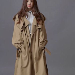 A substituting Han Guodong door classic double-breasted loose version women's long windbreaker