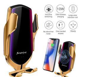 R1 Smart Automatic voiture Clamping chargeur sans fil pour IPhone X XR XS 8 Plus Galaxy S10 S9 de charge rapide grille d'aération Phone Holder + boîte