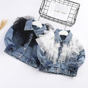 Princesa Girl Clthes cordón de dril de algodón de la chaqueta de bebé para niños de primavera de 2020 para niños pequeños para niños de los bebés del cordón largo de la manga del vaquero ropa de abrigo chaqueta
