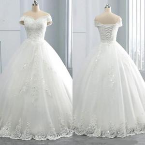 Потрясающие V-образным вырезом зимние кружевные свадебные платья Аппликации Большой размер с плеча бальное платье Custom Vestido de novia Формальное свадебное платье A