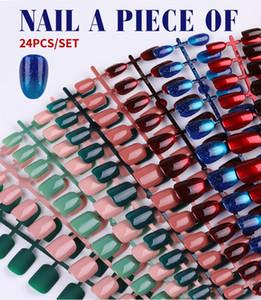 24pcs réutilisable PARFAITEMENT Brillant faux ongles artificiels Conseils pour court Décorée design Presse sur Nail Art Faux Conseils Extension