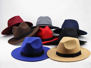 Moda-Moda Vintage Şapka Kadın Erkek Trilby Caz Şapkalar Fedoras En Geniş Brim HPopular Biçimsel Moda Cap Caps